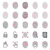 Finger id icons red on white background for graphic and web design, Modern simple vector sign. Internet concept. Trendy symbol for website design web button or mobile app