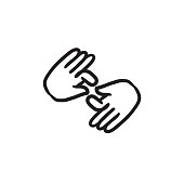 Finger language sketch icon