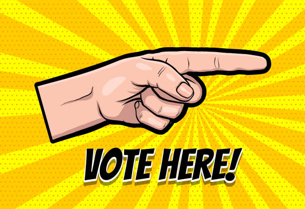 Finger motivated to vote in USA 2020 Finger motivated to vote in USA 2020. Comic text speech bubble. Ask Vote here 2020 on halftone background. Speech bubble text. Human arm gesture cartoon vector illustration. surface to air missile stock illustrations