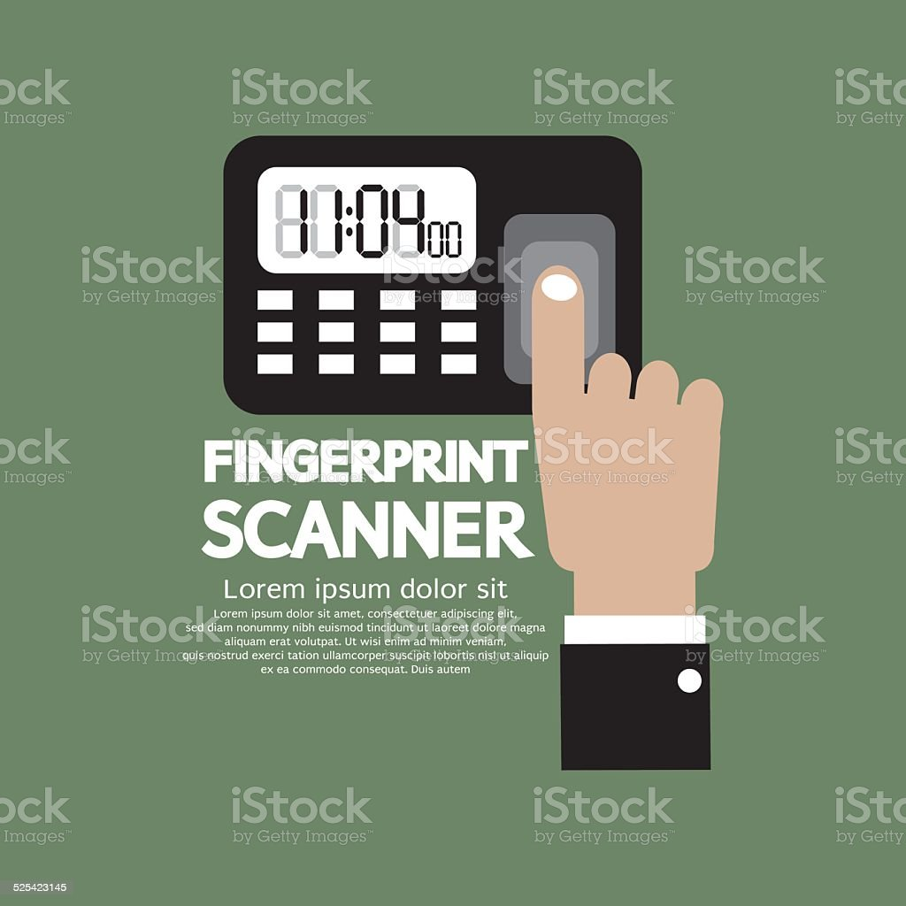 Finger On Fingerprint Scanner Device Vector Illustration vector art illustration