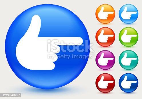 Finger Pistol Hand Sign Pointing Icon. This 100% royalty free vector illustration is featuring a blue round button with a drop shadow and the main icon is depicted in white. There are eight more color variations included on the right side of the image.