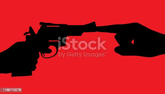 Vector silhouette of a finger plugging the barrel of a handgun.