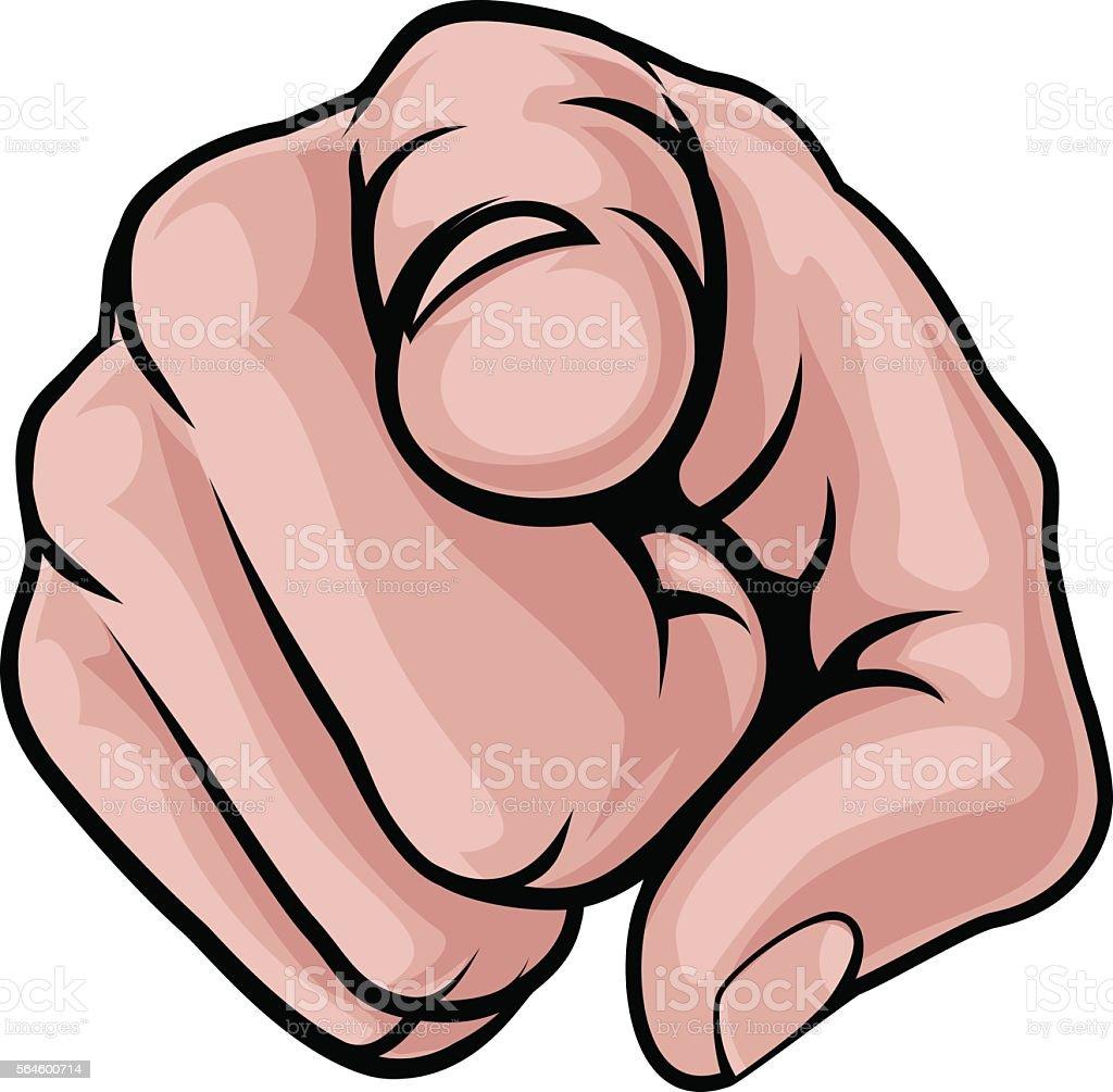 Finger Pointing Cartoon Hand vector art illustration