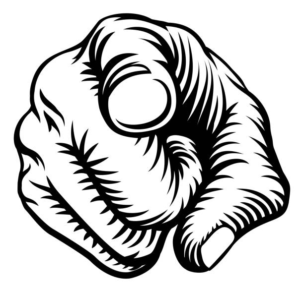 Finger Pointing Hand Fist Wants You A hand pointing a finger in a wants or needs you gesture in a vintage woodcut style. uncle sam stock illustrations