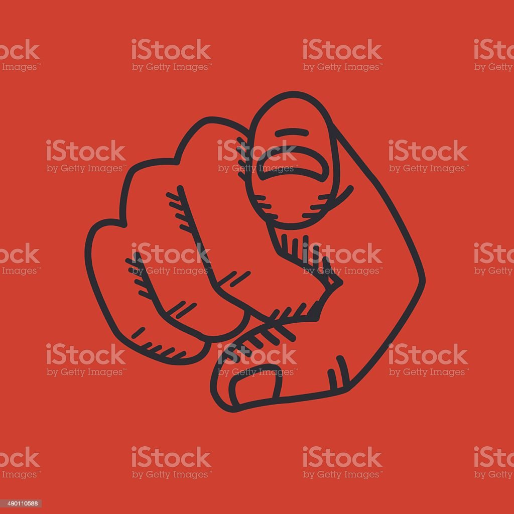 Finger pointing vector art illustration