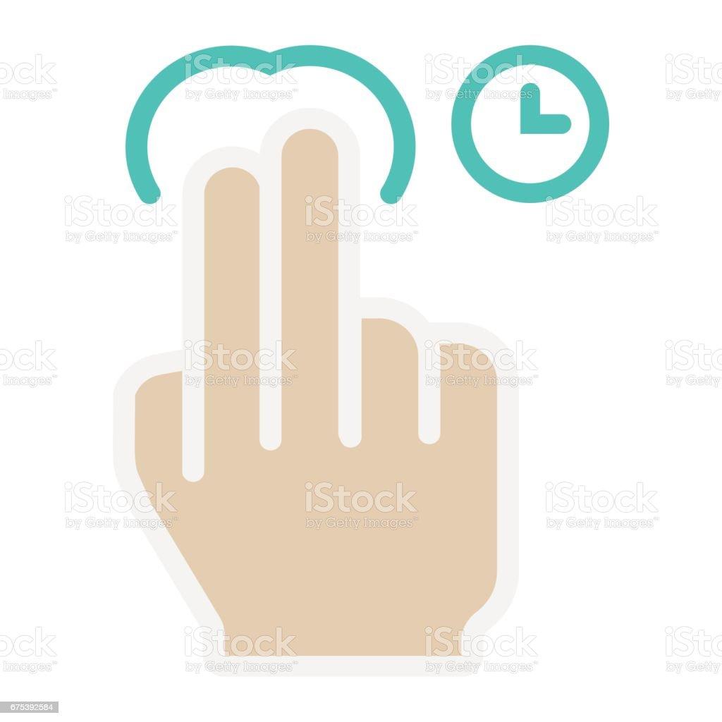 2 doigt Appuyez sur et maintenez l'icône plate, touch geste 2 doigt appuyez sur et maintenez licône plate touch geste – cliparts vectoriels et plus d'images de abstrait libre de droits