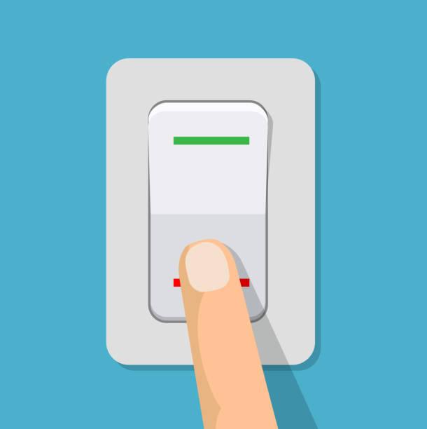 finger drückt den schalter. - schalter stock-grafiken, -clipart, -cartoons und -symbole