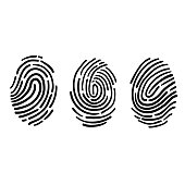 finger print illustration icon with hand drawn doodle style vector