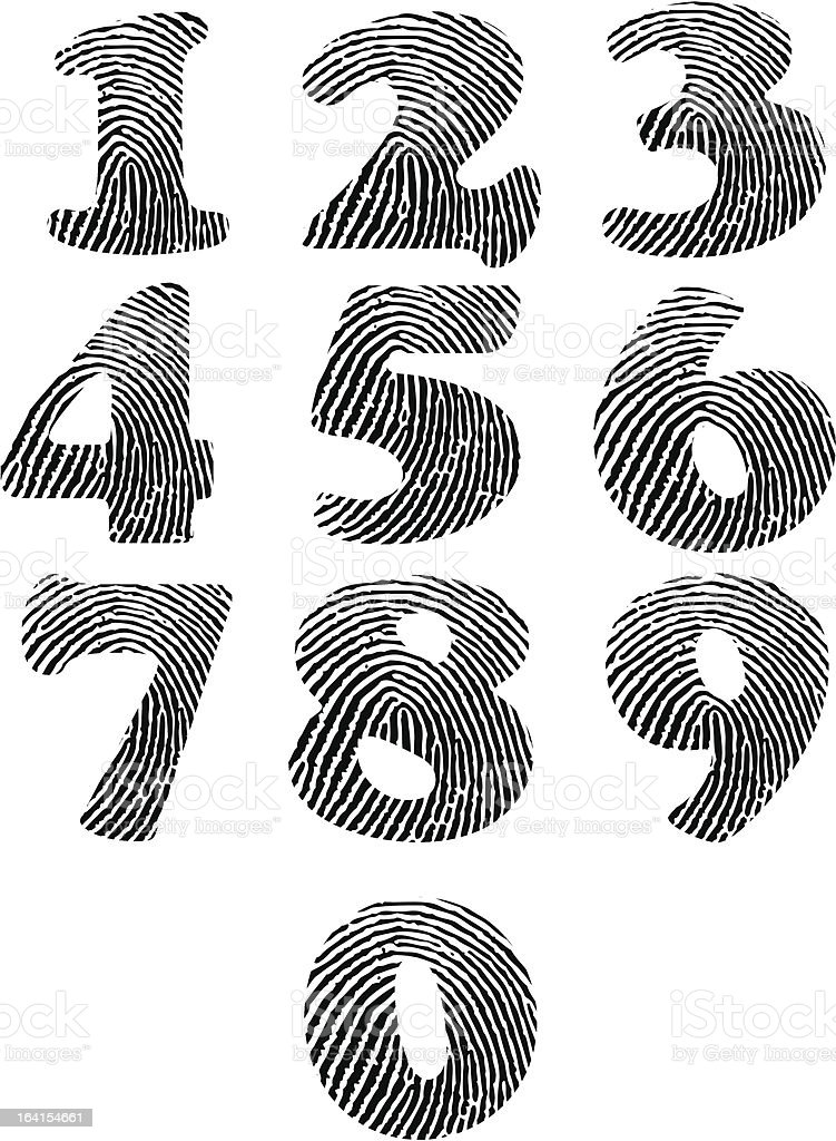 Finger print numbers royalty-free stock vector art
