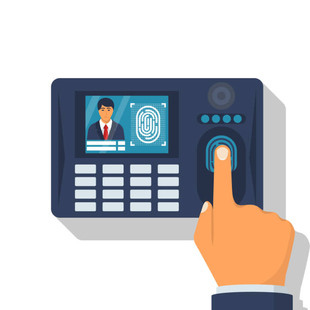 Finger print scan Finger print scan. Authorization in security system. Human hand scanning finger. Access control. Vector illustration flat design. Isolated on white background. Identification of person. biometrics stock illustrations