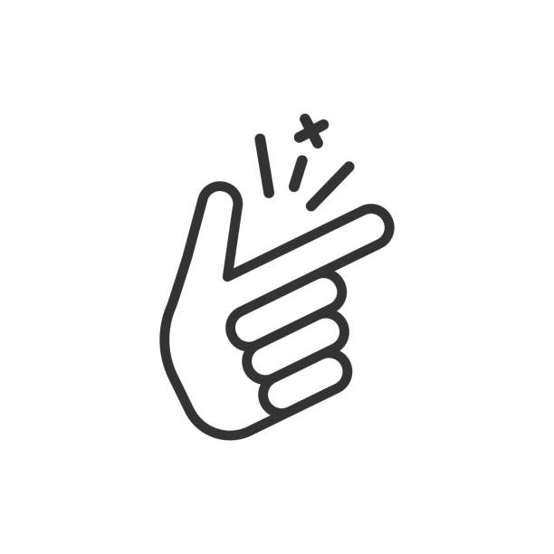 finger snap icon in flat style. fingers expression vector illustration on white isolated background. snap gesture business concept. - prostota stock illustrations