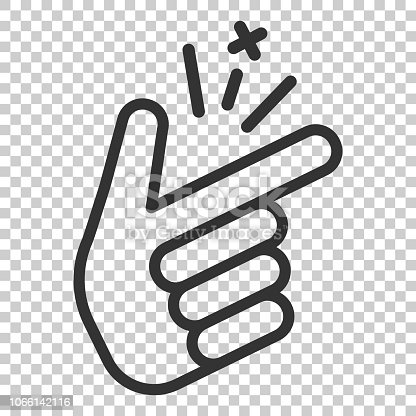 Finger snap icon in flat style. Fingers expression vector illustration on isolated background. Snap gesture business concept.
