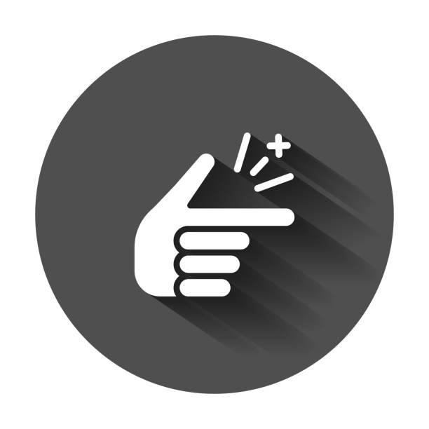 illustrazioni stock, clip art, cartoni animati e icone di tendenza di finger snap icon in flat style. fingers expression vector illustration with long shadow. snap gesture business concept. - facilità