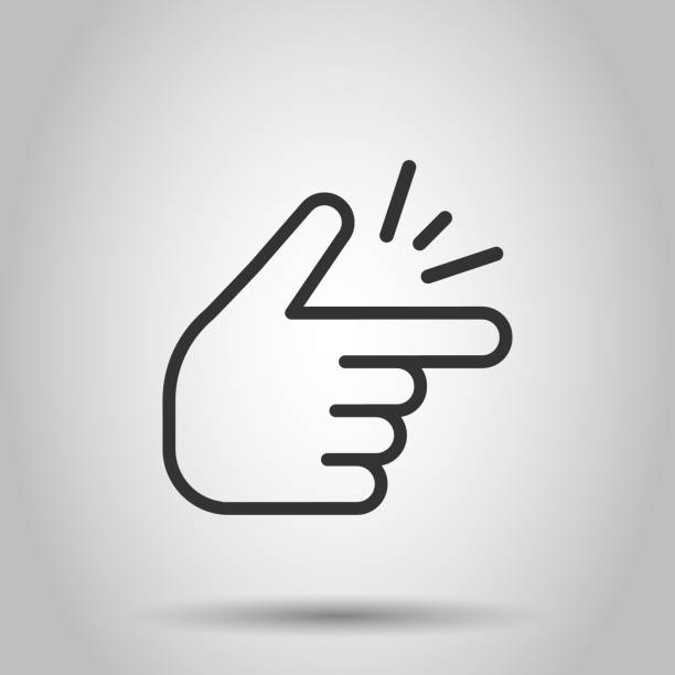 Finger snap icon in flat style. Fingers expression vector illustration on white background. Snap gesture business concept. Finger snap icon in flat style. Fingers expression vector illustration on white background. Snap gesture business concept. smooth stock illustrations