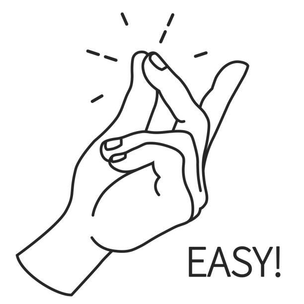illustrazioni stock, clip art, cartoni animati e icone di tendenza di finger snapping outline, hand gesture. easy concept expression illustration. - facilità