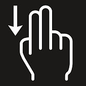 2 finger Swipe down line icon, touch and gesture
