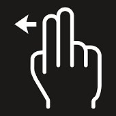 2 finger Swipe left line icon, touch and gesture
