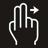 2 finger Swipe right line icon, touch and gesture