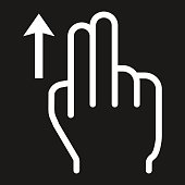 2 finger Swipe up line icon, touch and gesture