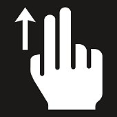 2 finger Swipe up solid icon, touch and gesture