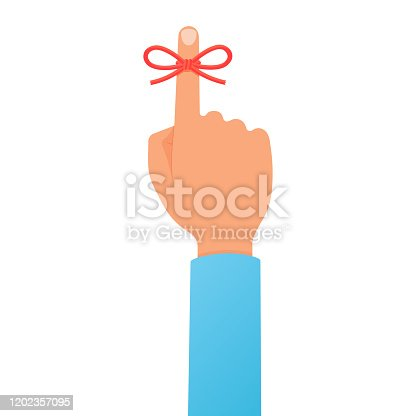 Man's hand with red bow remainder string ribbon rope on forefinger. Forgetfulness, don't forget. Flat cartoon style vector colorful illustration isolated on white background.