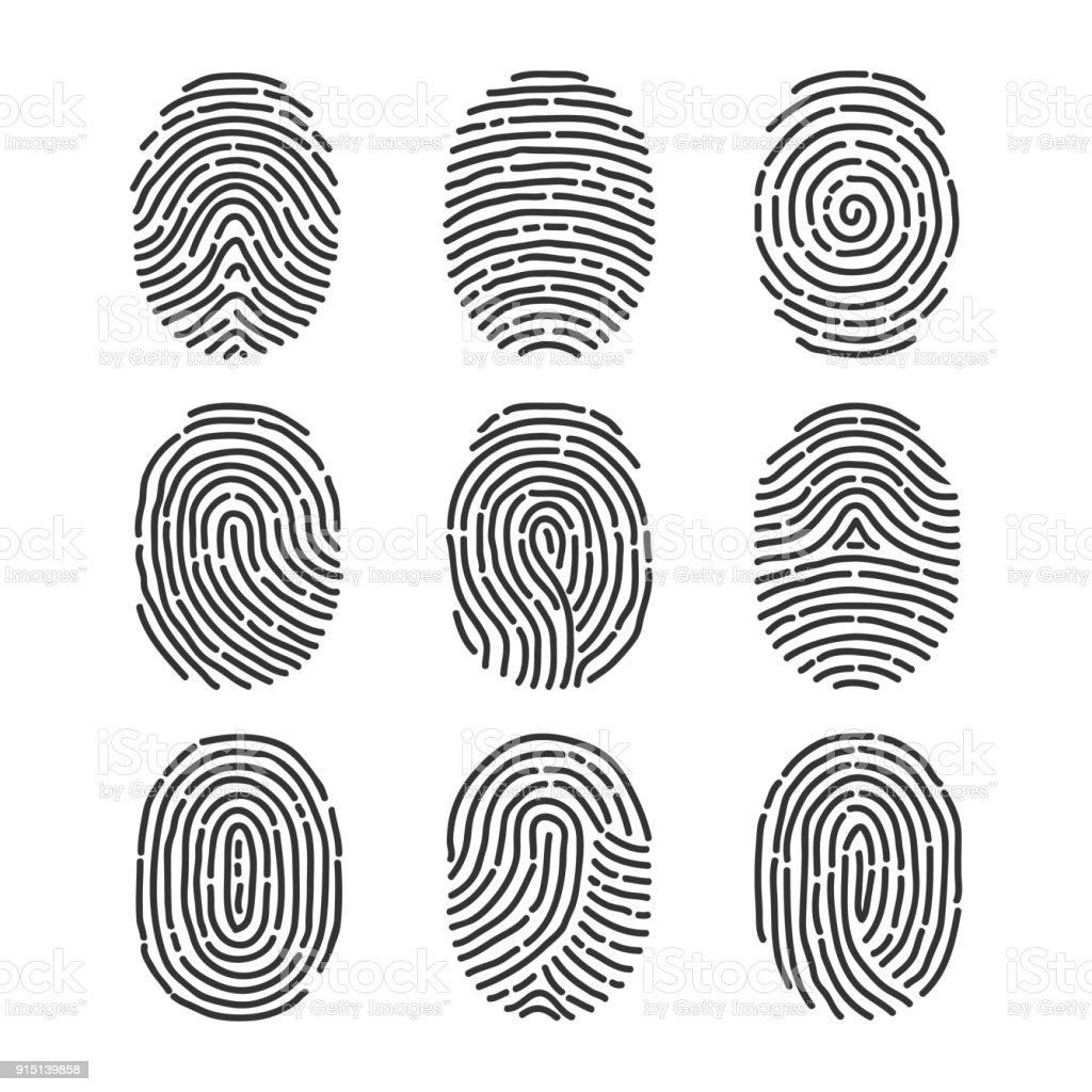 Ein Fingerabdruck Eine Reihe Von Fingerabdrucken Stock Vektor Art