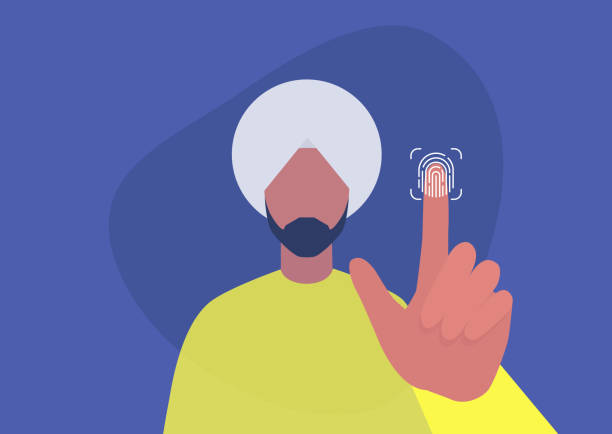 fingerprint access, new technologies, young indian male character scanning their finger - ilustracje z kategorii cele podróży stock illustrations