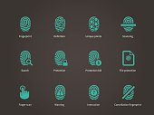 Fingerprint and thumbprint icons