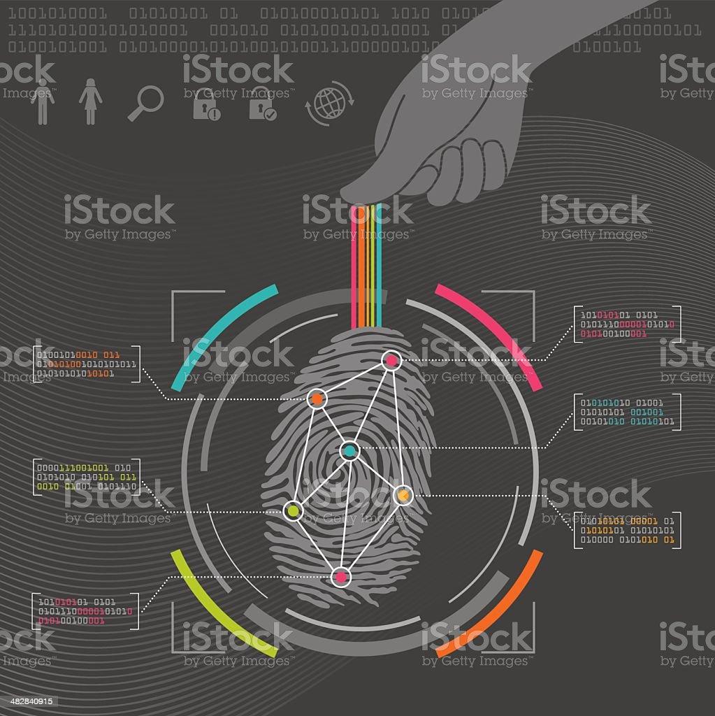 Fingerprint Biometrics vector art illustration