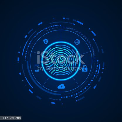concept of cyber security, fingerprint with digital technology theme