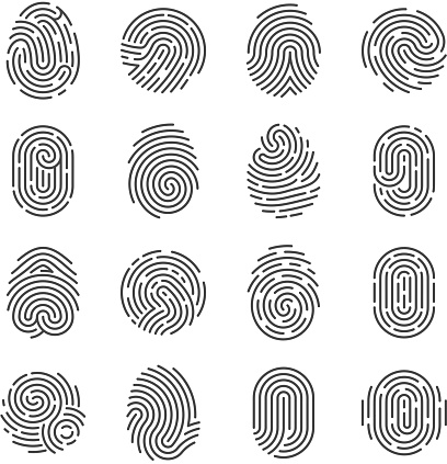 Fingerprint detailed icons. Police scanner thumb vector symbols. Identity person security id pictograms