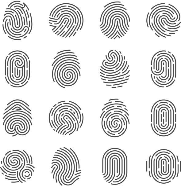 Fingerprint detailed icons. Police scanner thumb vector symbols. Identity person security id pictograms Fingerprint detailed icons. Police scanner thumb vector symbols. Identity person security id pictograms. Finger identity, technology biometric illustration biometrics stock illustrations