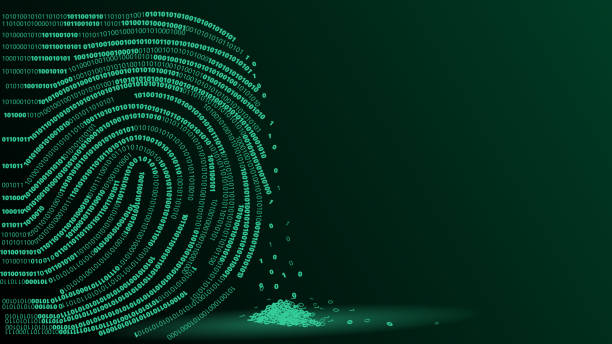 fingerprint digital footprint vector illustration - identity theft stock illustrations, clip art, cartoons, & icons