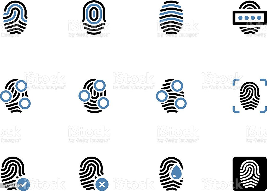Fingerprint duotone icons on white background. royalty-free stock vector art