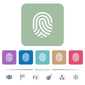 Fingerprint white flat icons on color rounded square backgrounds. 6 bonus icons included