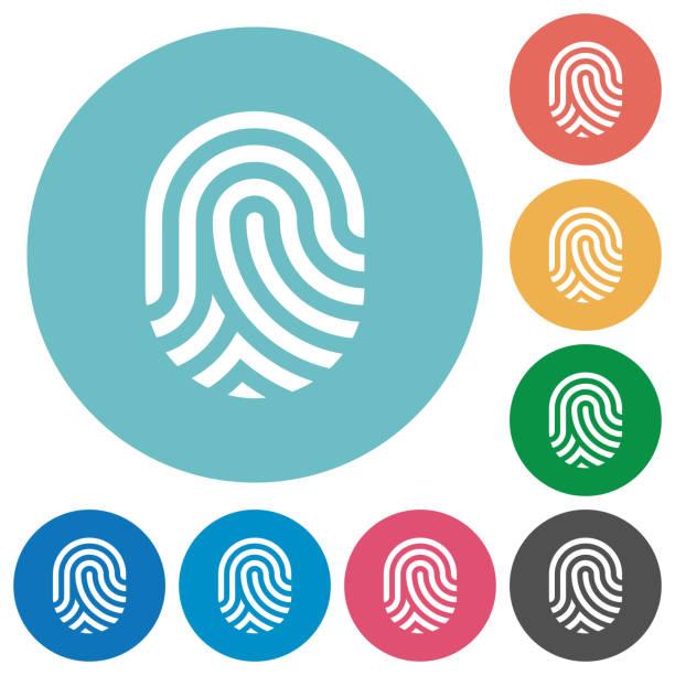Fingerabdruck flache Runde Symbole – Vektorgrafik