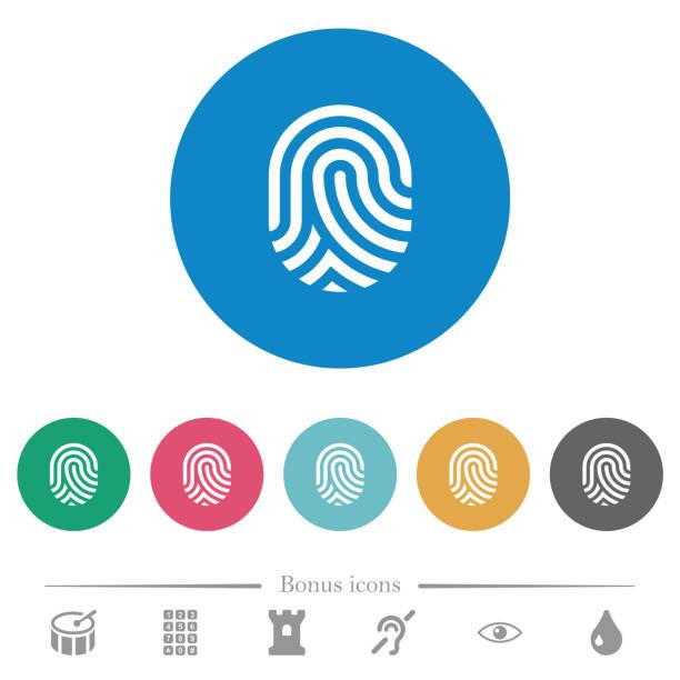 ilustrações de stock, clip art, desenhos animados e ícones de fingerprint flat round icons - going inside eye