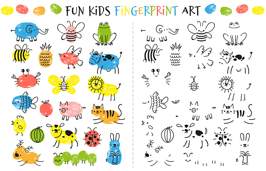 Fingerprint game for kids. Fun educational activity for children study to paint with fingers. Doodle animals and insects drawing vector set