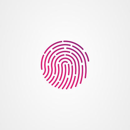 Fingerprint icon logo design. simple flat vector illustration.