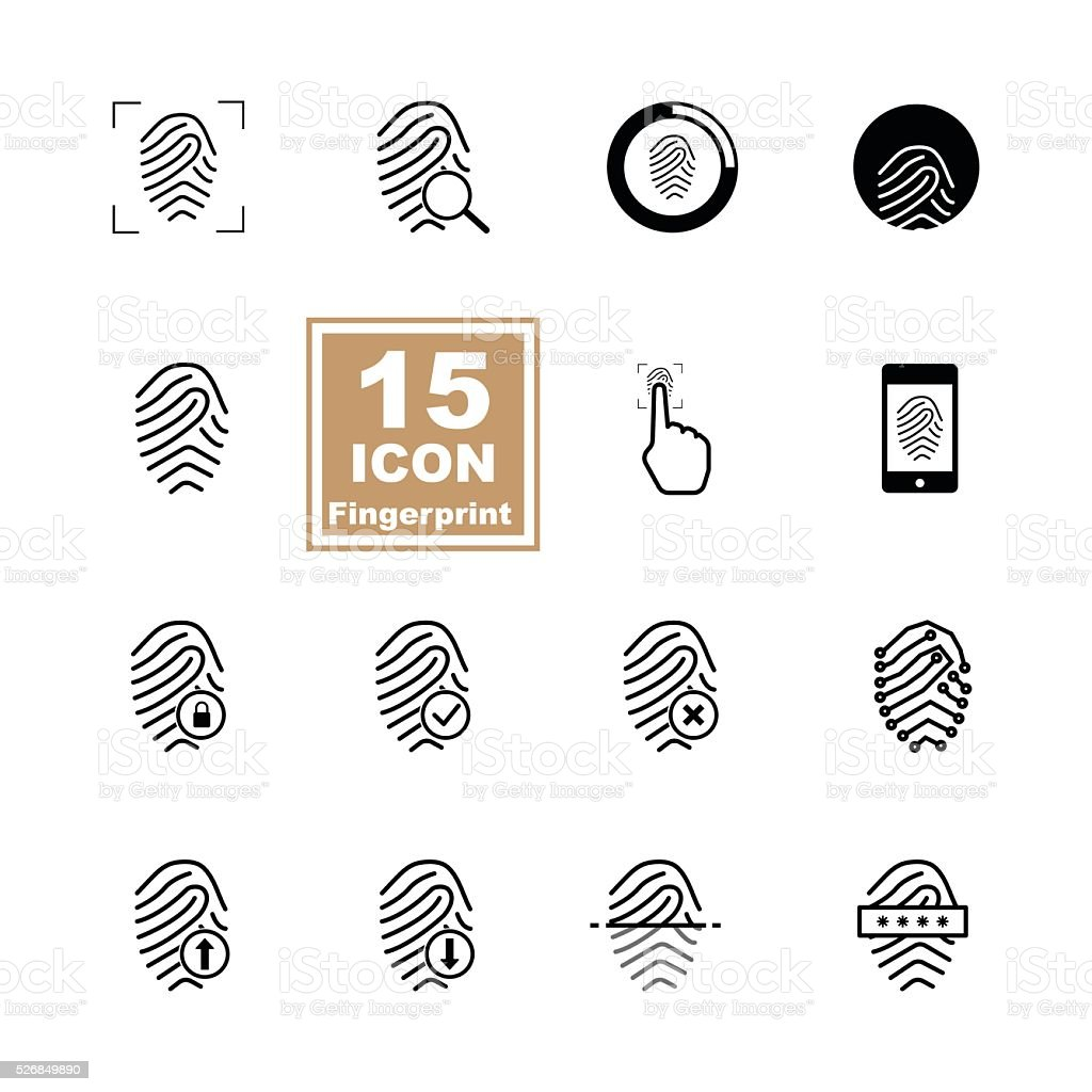 Fingerprint icon set on white background vector art illustration