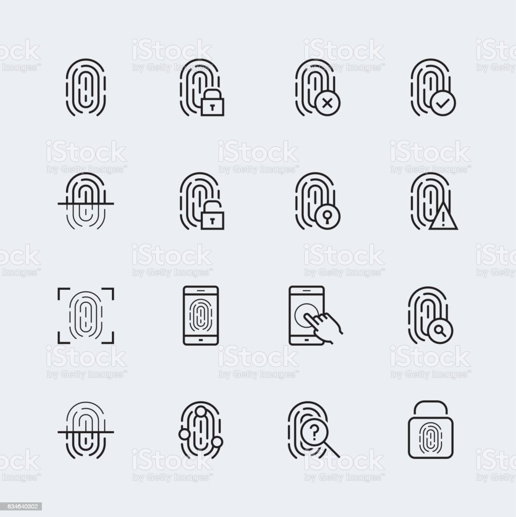 Fingerprint icon set, thin line design vector art illustration