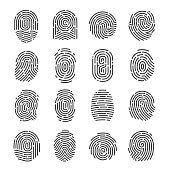 Fingerprint icon set. Impression, mark used for identifying individuals, unique pattern of lines for biometric identification in criminal investigation. Vector illustration