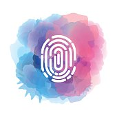 Vector of Fingerprint icon with watercolor backgorund. EPS Ai 10 file format.