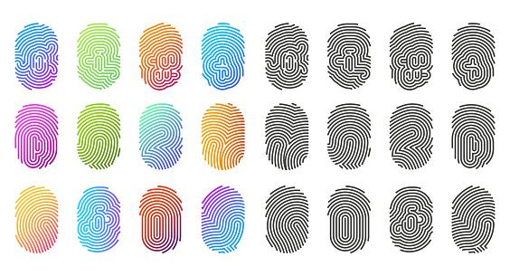 Fingerprint icons, finger prints in color pattern
