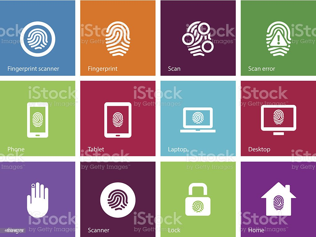 Fingerprint icons on color background. royalty-free stock vector art
