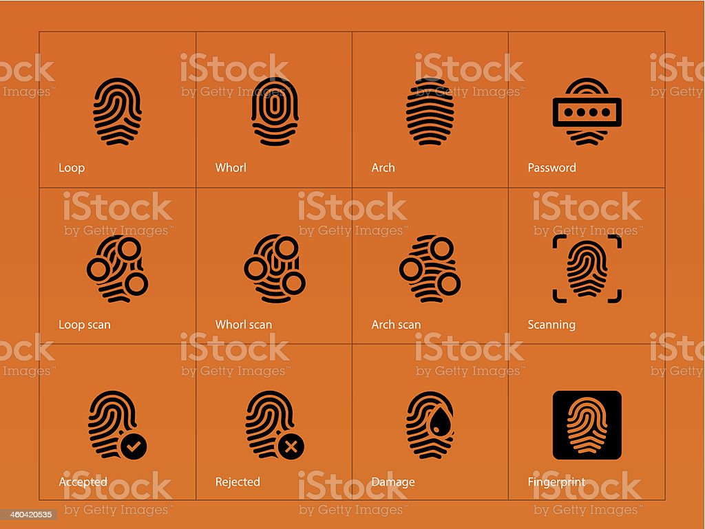 Fingerprint icons on orange background. royalty-free fingerprint icons on orange background stock vector art & more images of accessibility