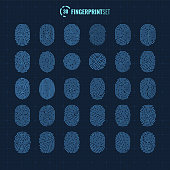 Vector geometrical fingerprint scan icons set for mobile and web usage