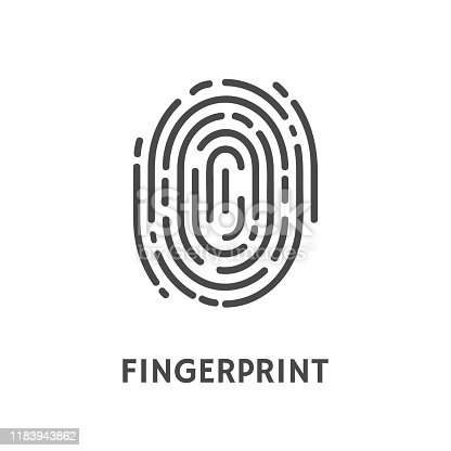 Fingerprint identification and verification of person vector. Thumbprint and text of poster, security system and authorization authentication process
