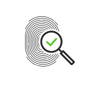 Fingerprint identification check or access approved vector icon, line outline art design of thumb print and magnifying glass with checkmark symbol, accepted identity scan pictogram isolated