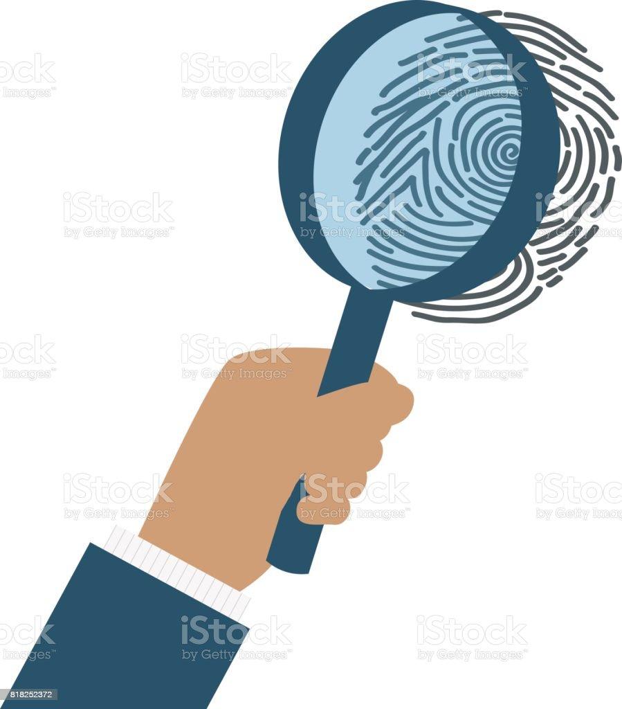 Fingerabdruck-Identifikation der Wirtel mit Lupe – Vektorgrafik